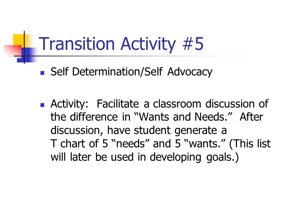 Transition Activity #5 Self Determination/Self Advocacy