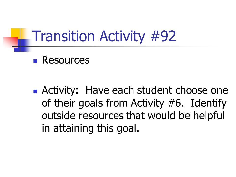 Transition Activity #92 Resources