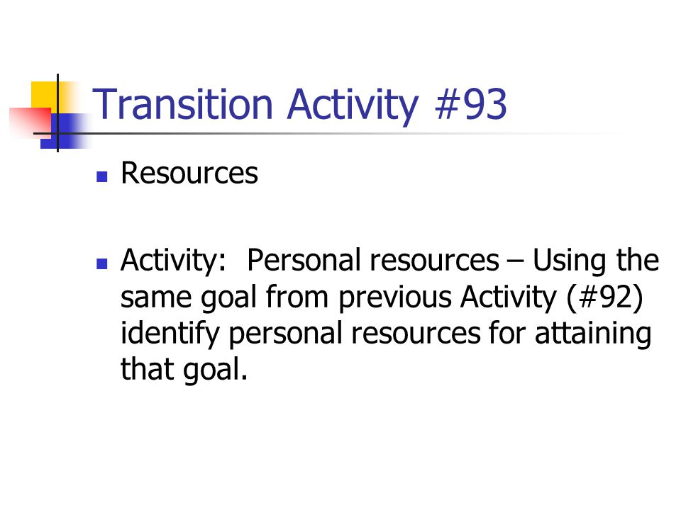 Transition Activity #93 Resources