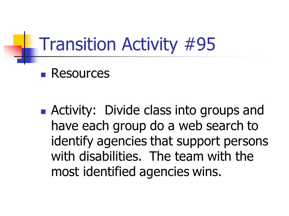 Transition Activity #95 Resources
