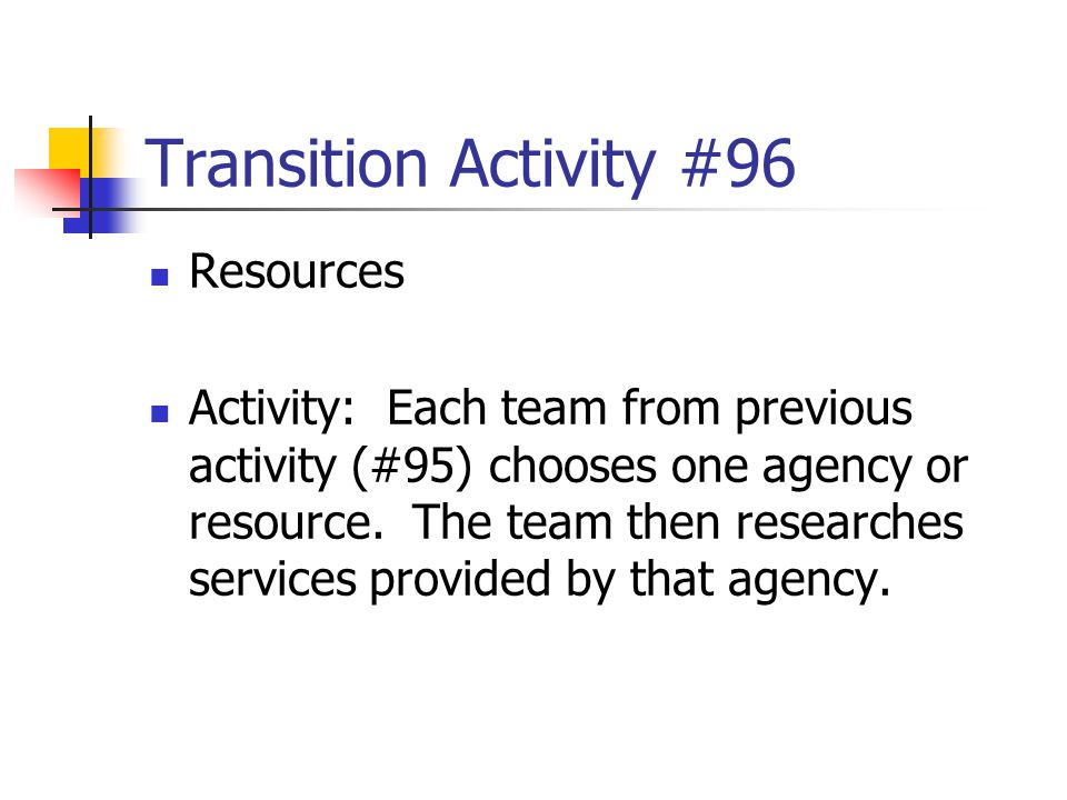 Transition Activity #96 Resources