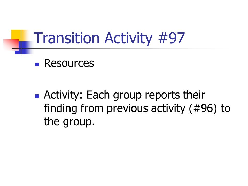 Transition Activity #97 Resources