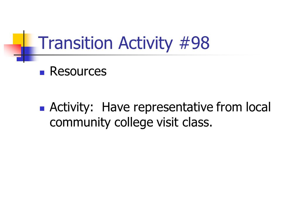 Transition Activity #98 Resources