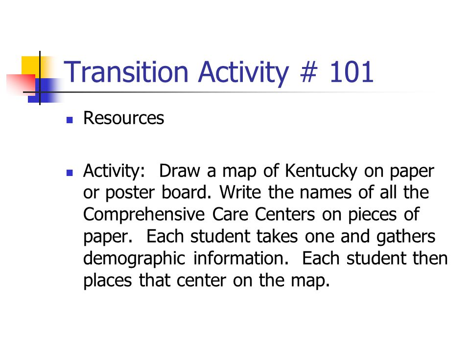 Transition Activity # 101 Resources