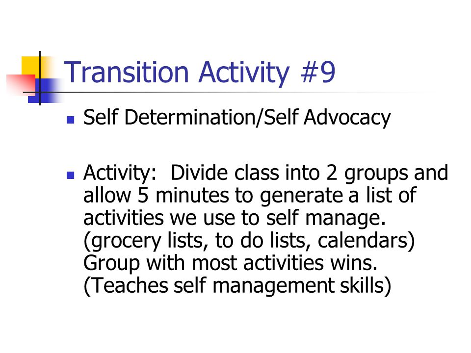 Transition Activity #9 Self Determination/Self Advocacy