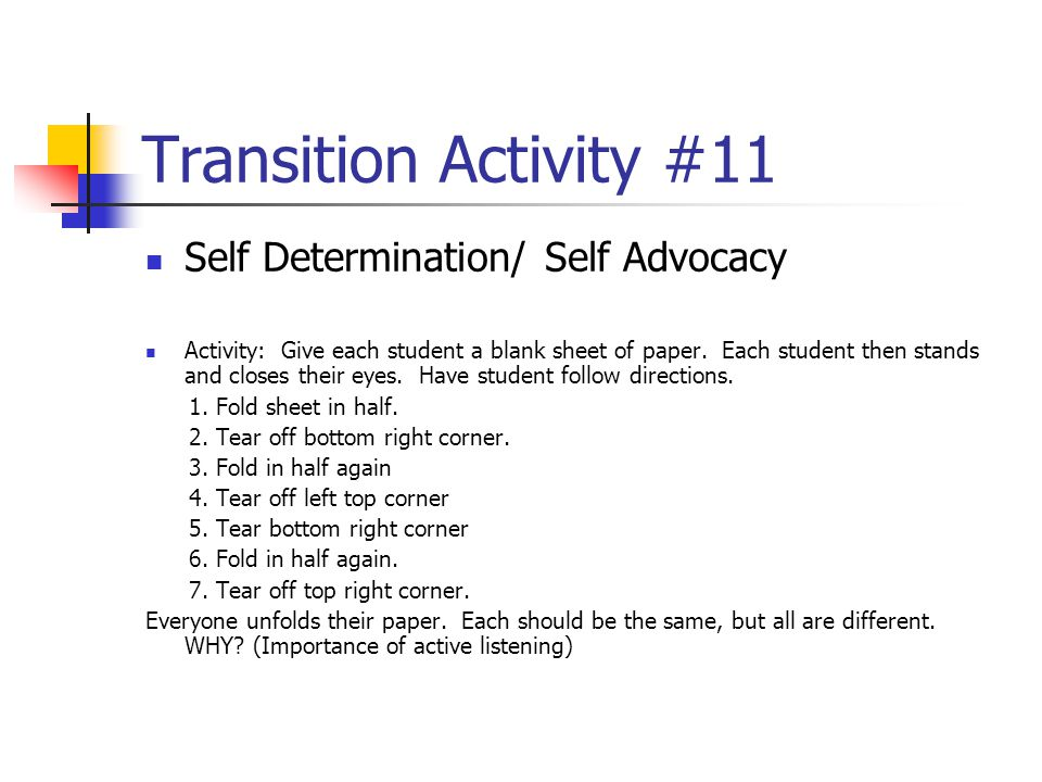 Transition Activity #11 Self Determination/ Self Advocacy