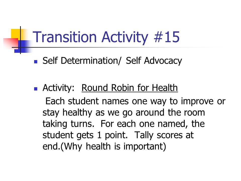 Transition Activity #15 Self Determination/ Self Advocacy