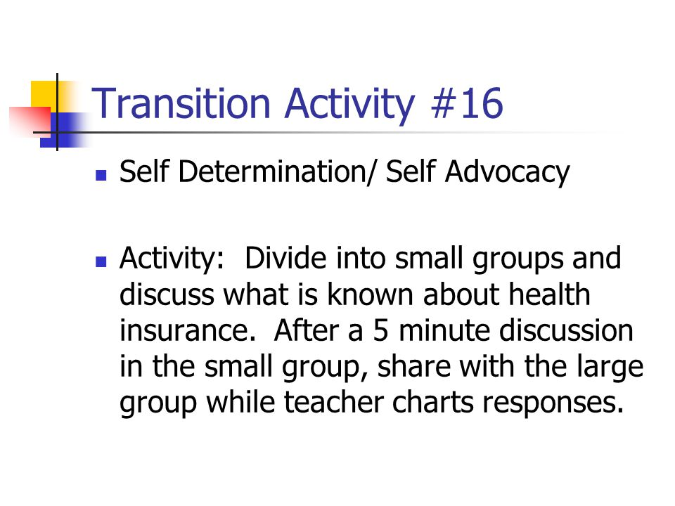 Transition Activity #16 Self Determination/ Self Advocacy