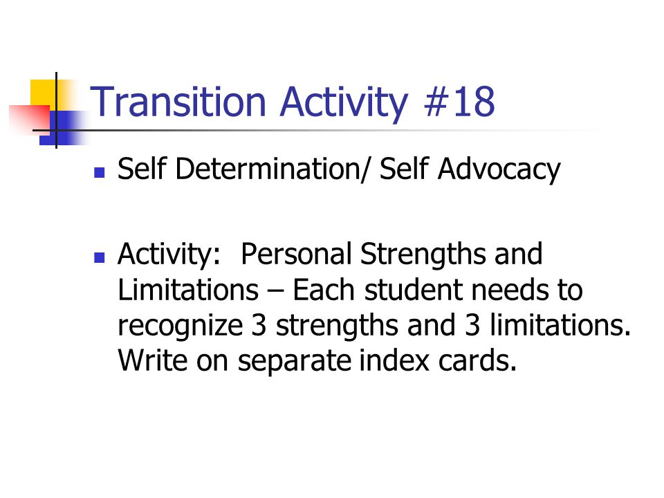 Transition Activity #18 Self Determination/ Self Advocacy
