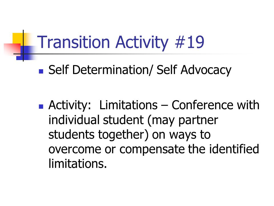 Transition Activity #19 Self Determination/ Self Advocacy