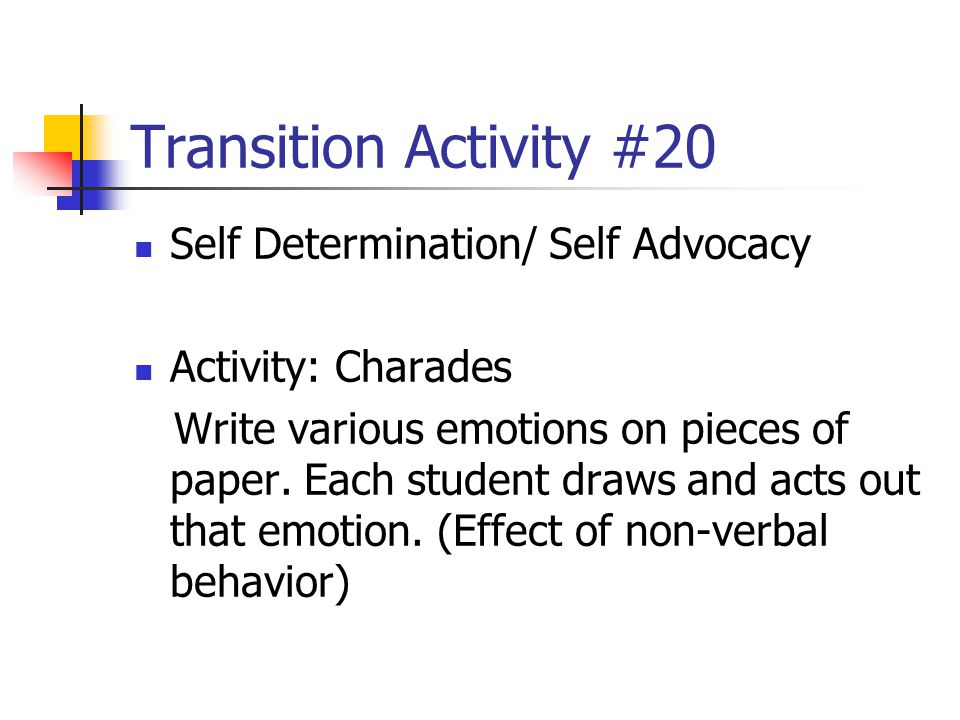 Transition Activity #20 Self Determination/ Self Advocacy