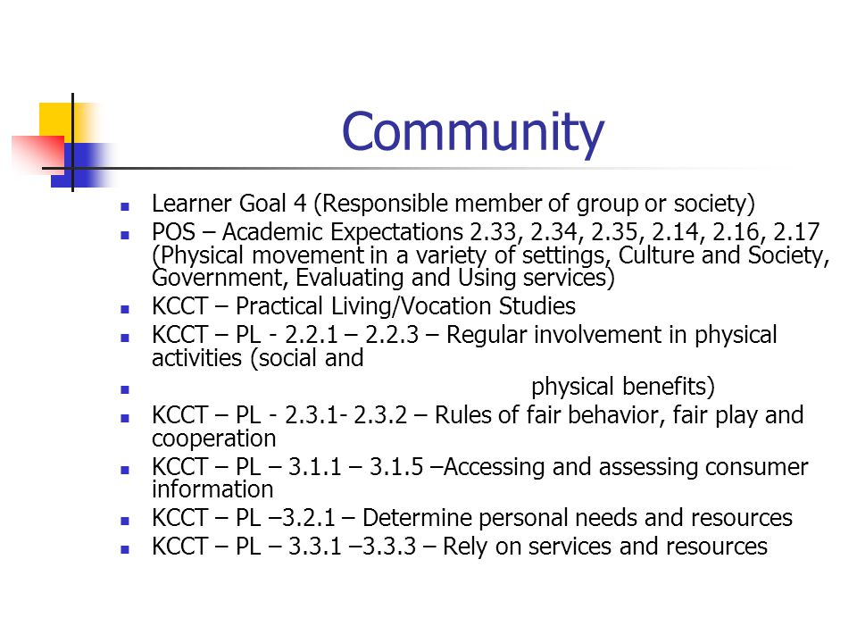 Community Learner Goal 4 (Responsible member of group or society)