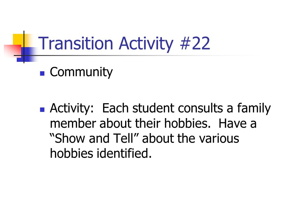 Transition Activity #22 Community