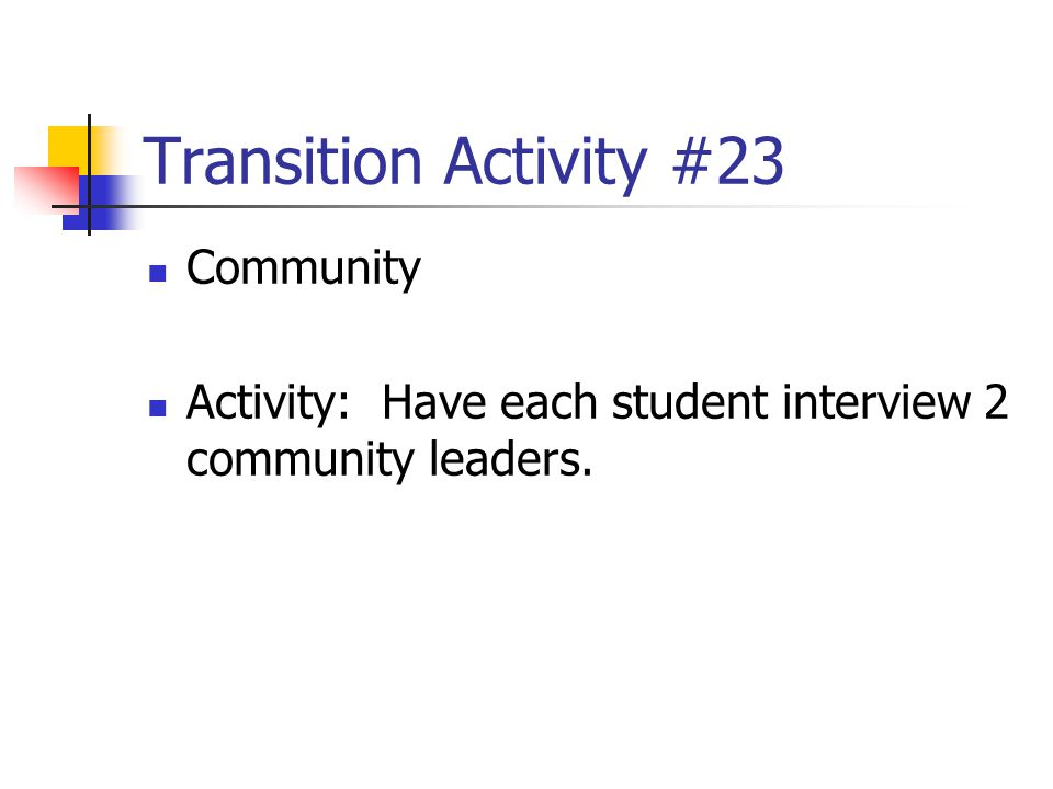 Transition Activity #23 Community