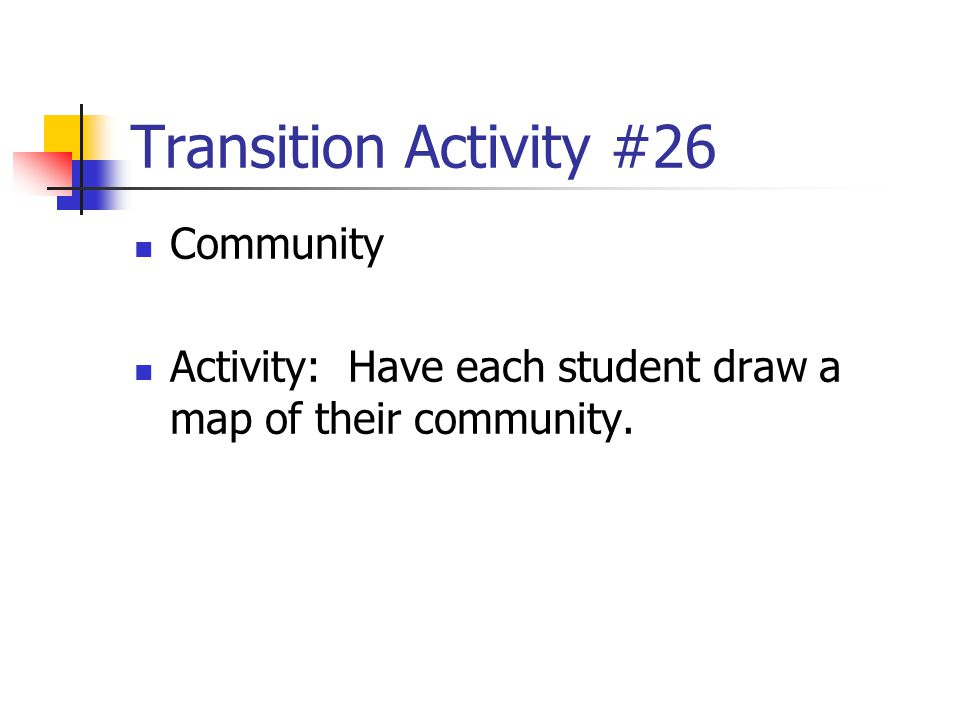 Transition Activity #26 Community
