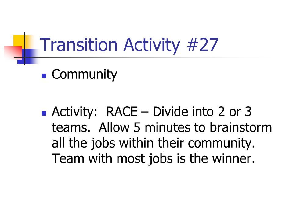 Transition Activity #27 Community