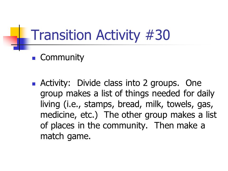 Transition Activity #30 Community