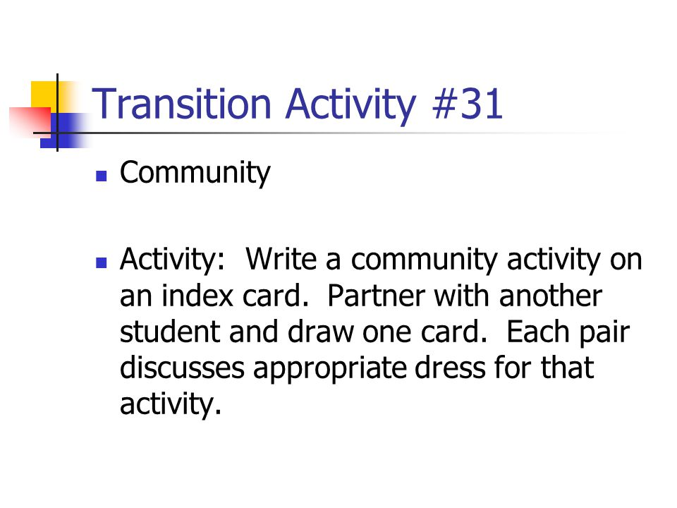 Transition Activity #31 Community