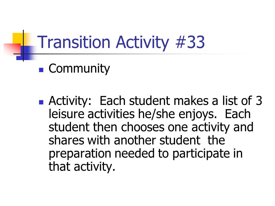 Transition Activity #33 Community