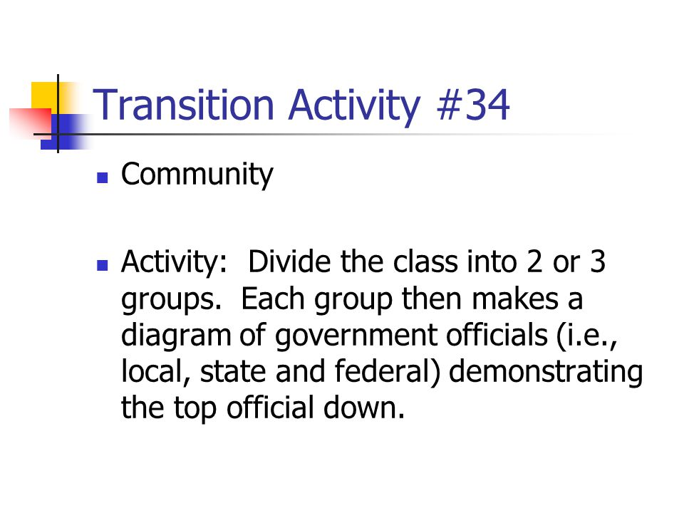 Transition Activity #34 Community