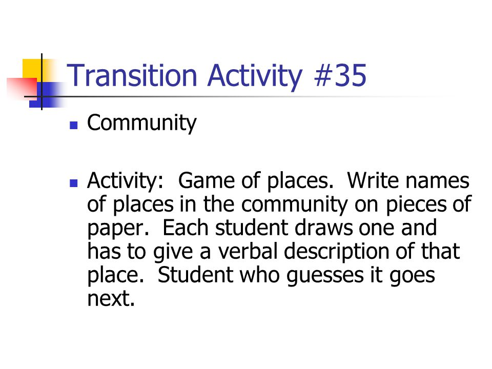 Transition Activity #35 Community