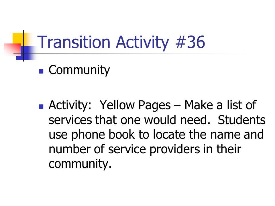 Transition Activity #36 Community