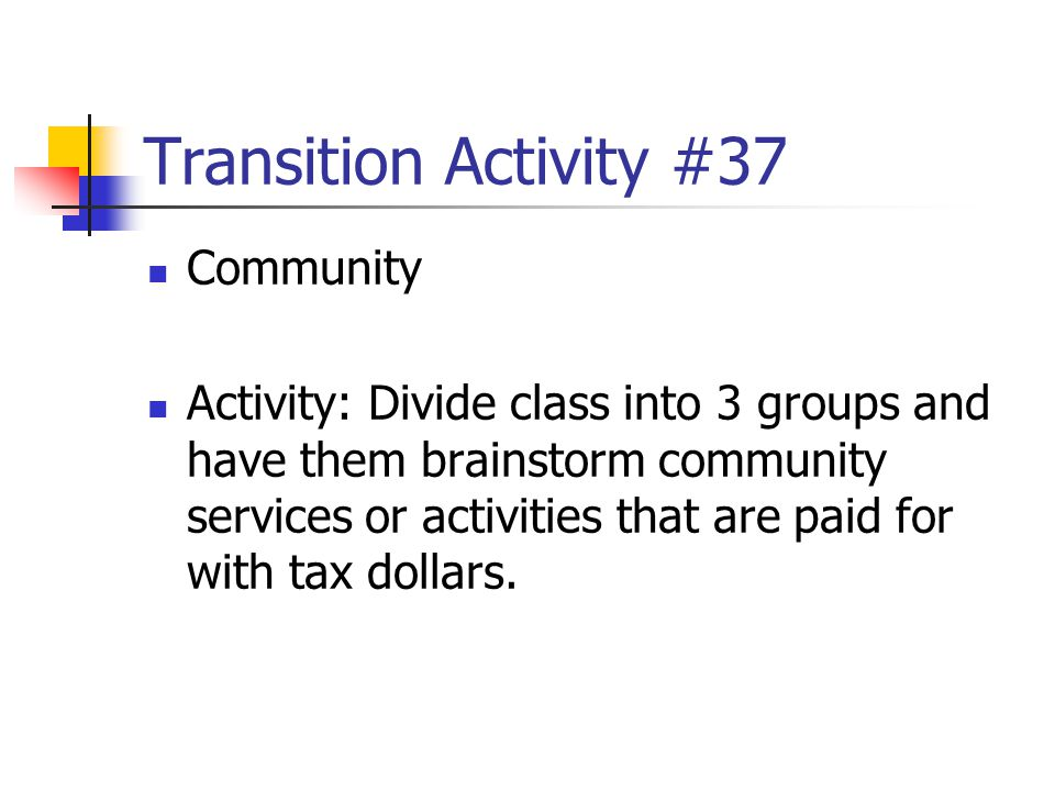 Transition Activity #37 Community