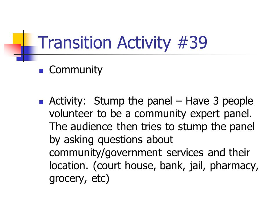 Transition Activity #39 Community