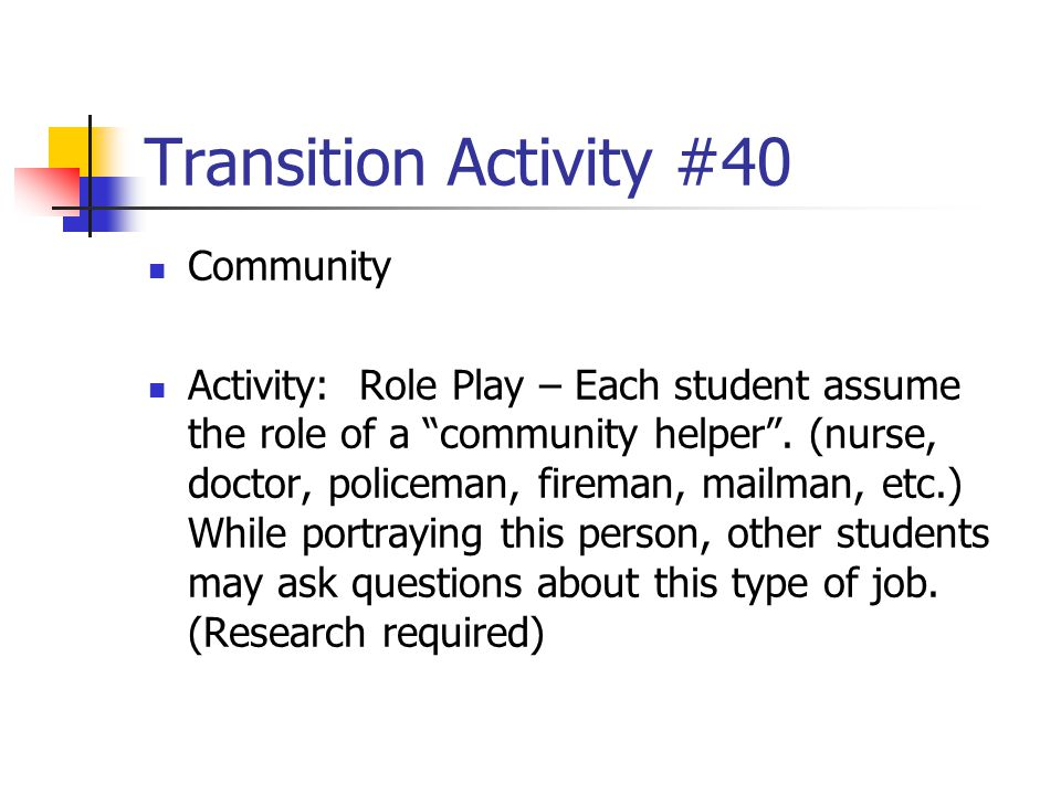 Transition Activity #40 Community