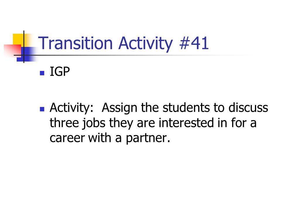 Transition Activity #41 IGP