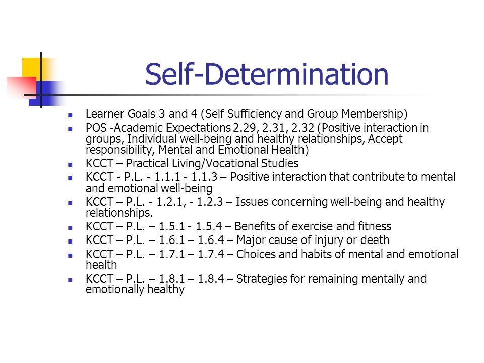 Self-Determination Learner Goals 3 and 4 (Self Sufficiency and Group Membership)