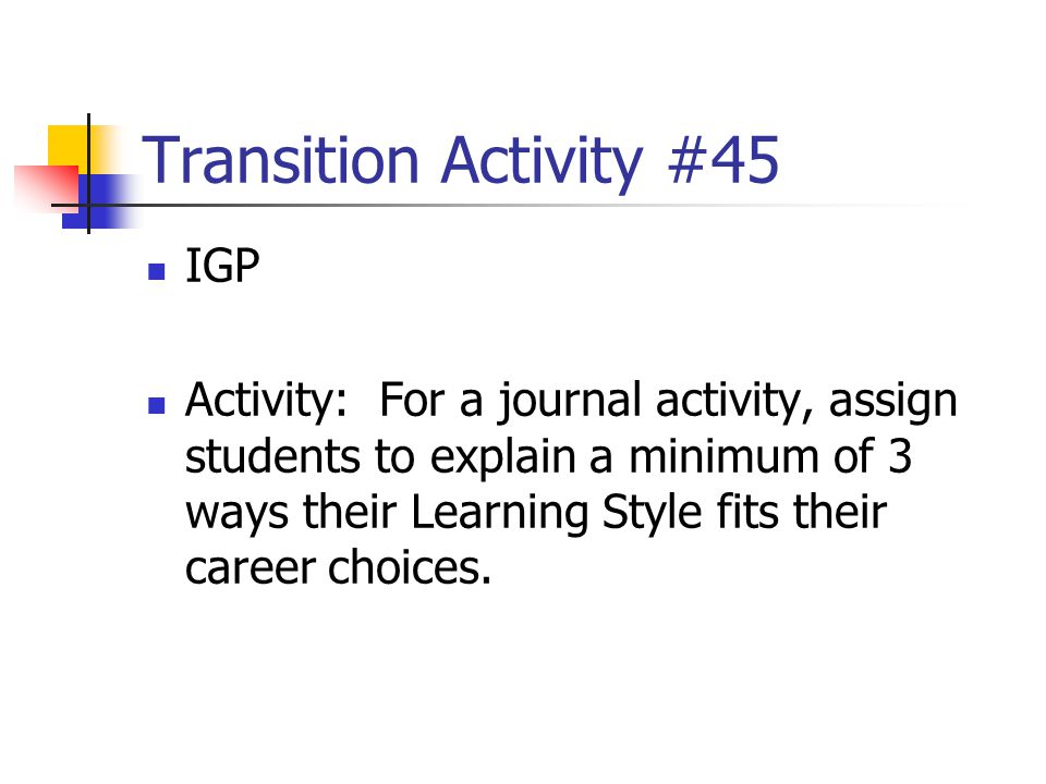 Transition Activity #45 IGP