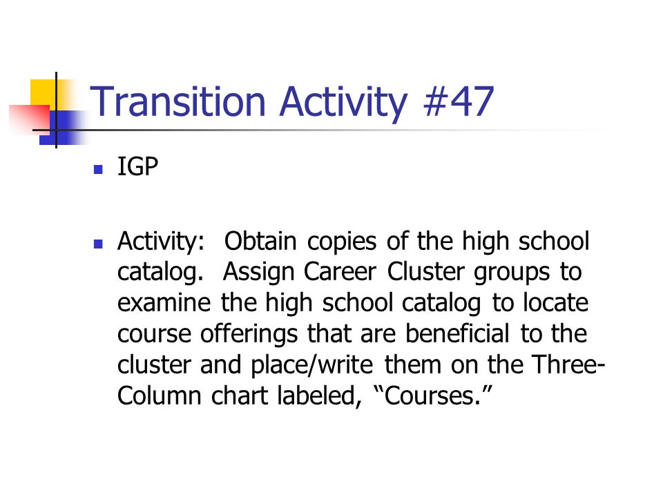 Transition Activity #47 IGP