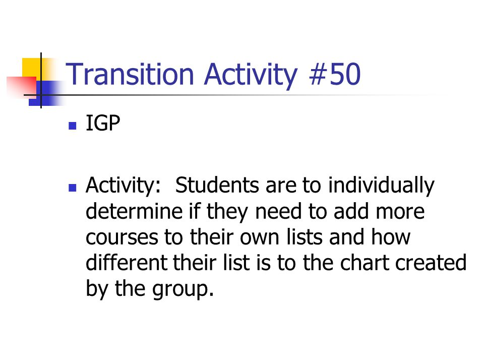 Transition Activity #50 IGP