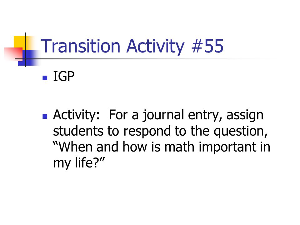 Transition Activity #55 IGP