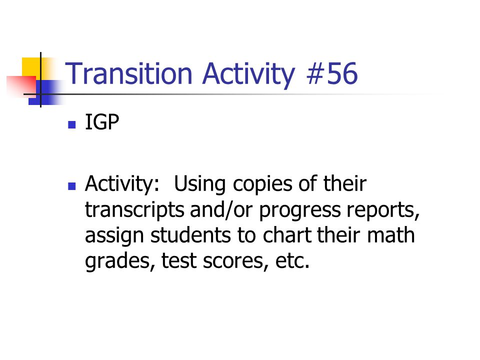 Transition Activity #56 IGP