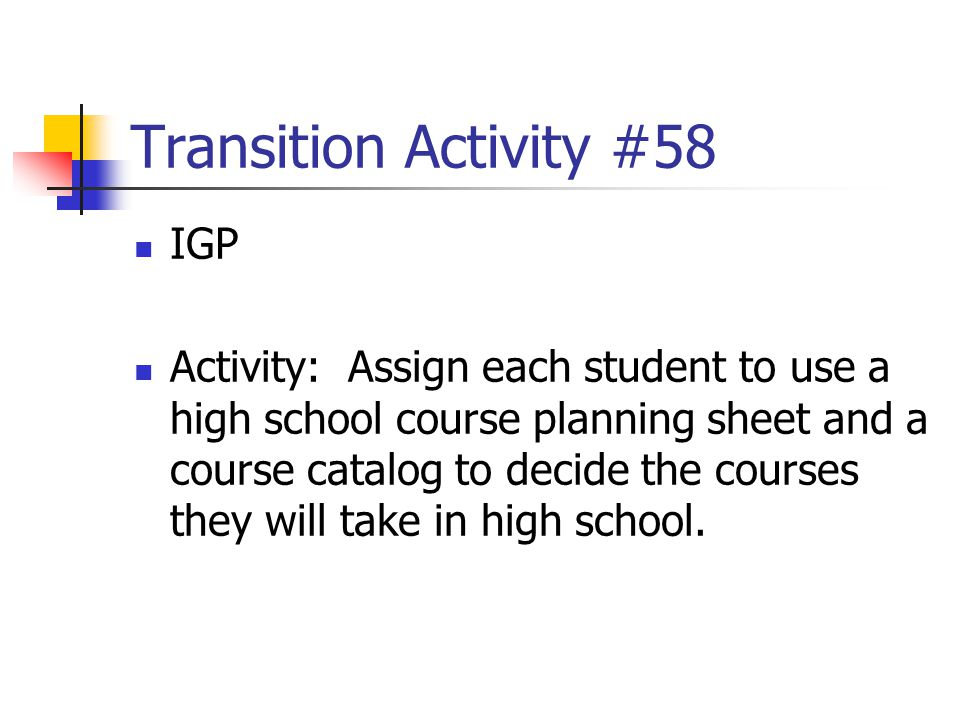 Transition Activity #58 IGP