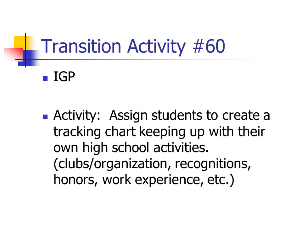 Transition Activity #60 IGP