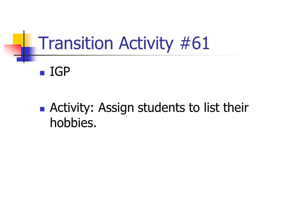 Transition Activity #61 IGP