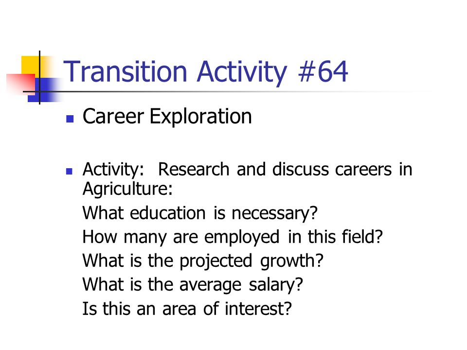 Transition Activity #64 Career Exploration