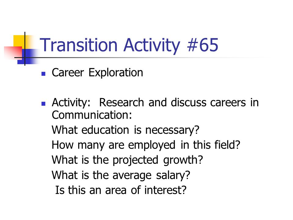 Transition Activity #65 Career Exploration