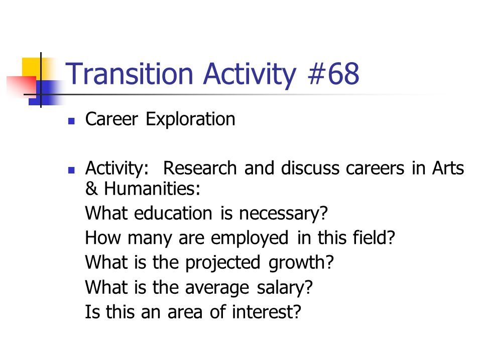 Transition Activity #68 Career Exploration