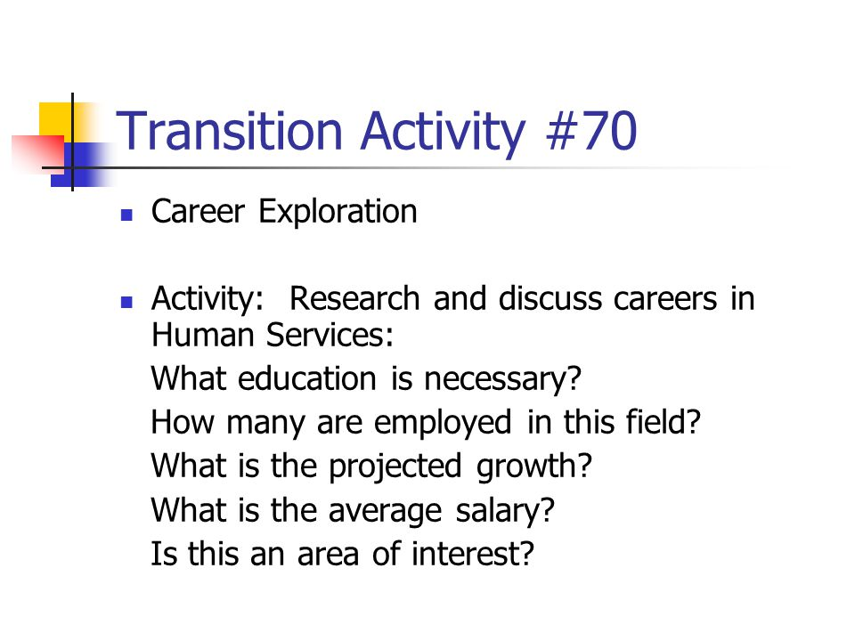 Transition Activity #70 Career Exploration