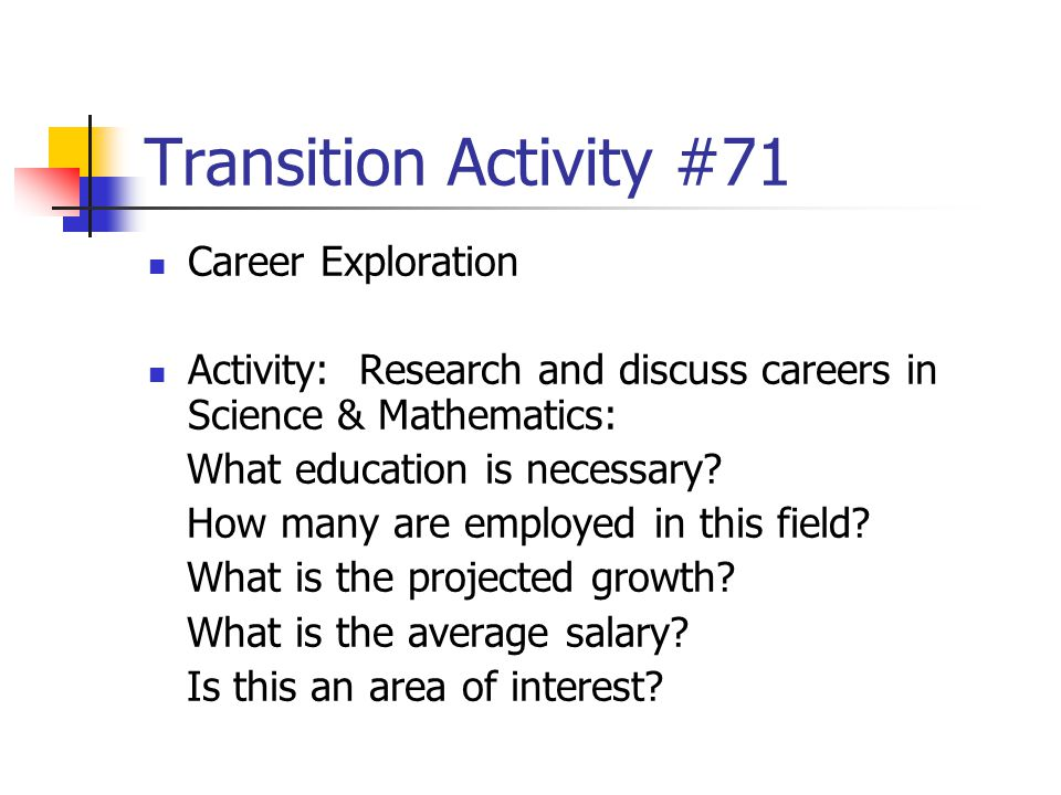 Transition Activity #71 Career Exploration