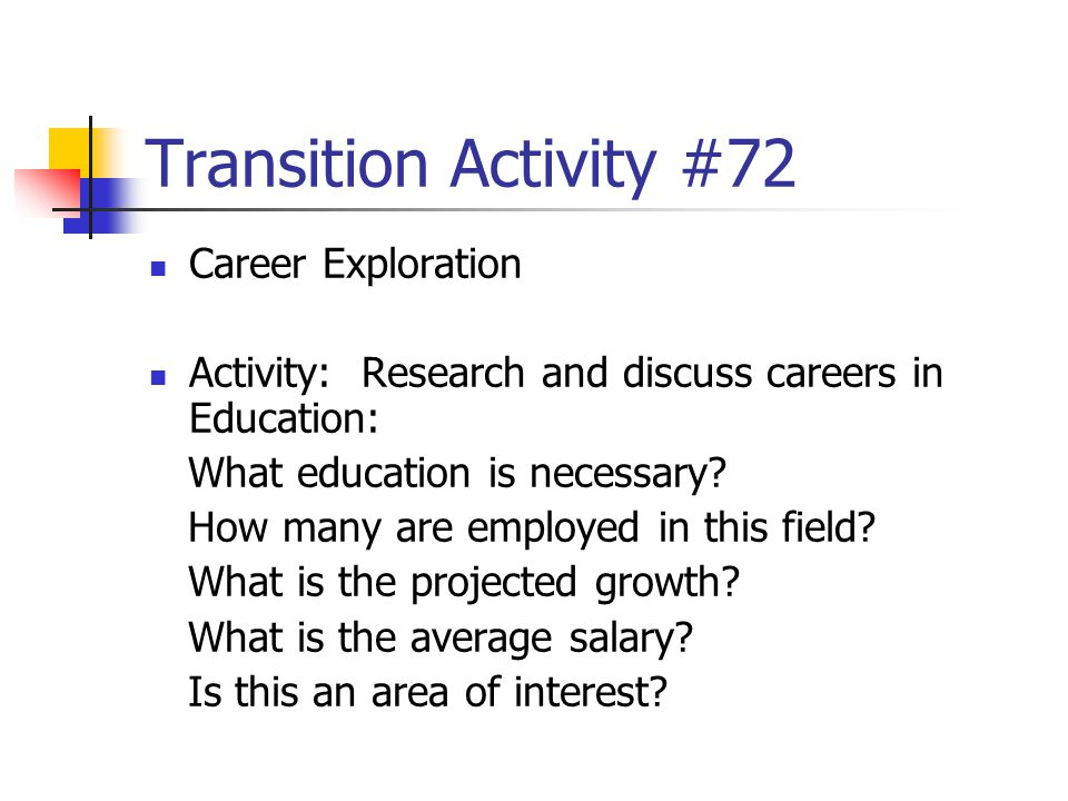 Transition Activity #72 Career Exploration