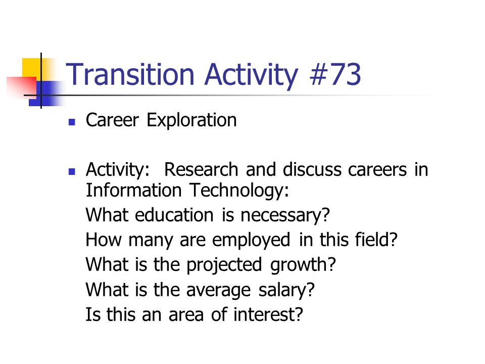 Transition Activity #73 Career Exploration