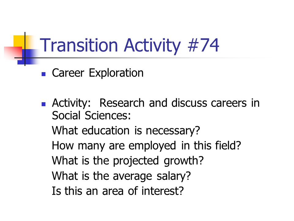 Transition Activity #74 Career Exploration