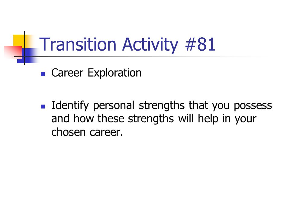 Transition Activity #81 Career Exploration