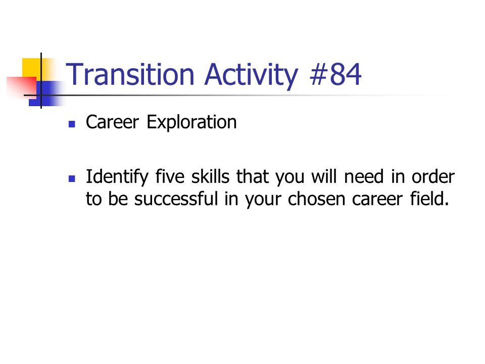 Transition Activity #84 Career Exploration