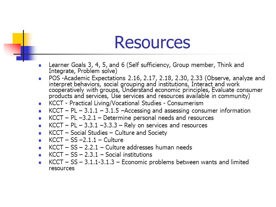 Resources Learner Goals 3, 4, 5, and 6 (Self sufficiency, Group member, Think and Integrate, Problem solve)
